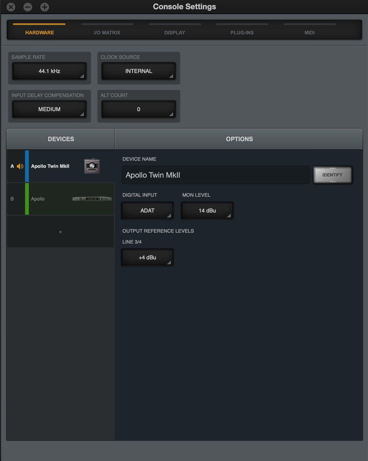 Apollo Twin MKⅡの設定画面